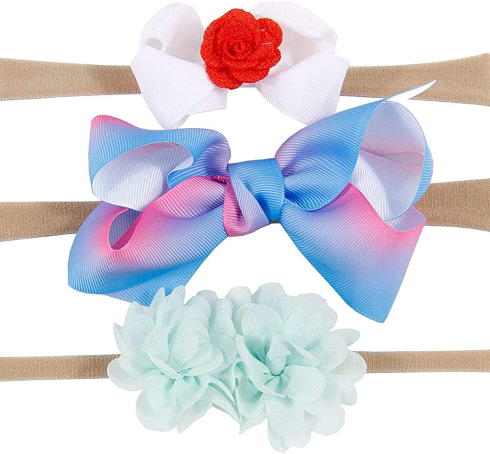 BOBORA 4 PCS Kids Girls Baby Headband Toddler Bow Flower Hair Band Accessories Headwear Baby Photography Props for Party Birthday