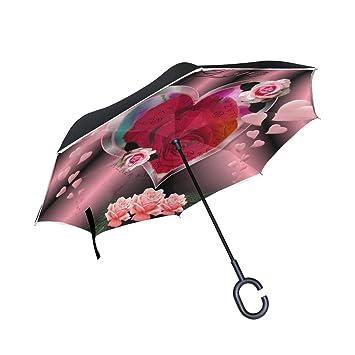 Amazon.com: Paraguas reversible de papel pintado con diseño ...