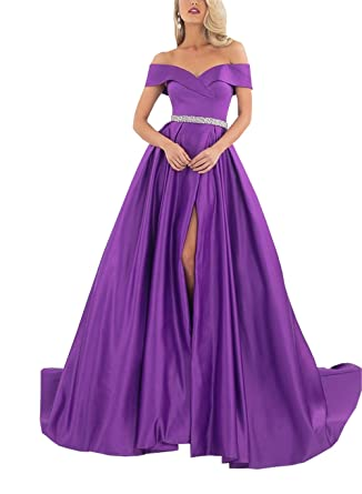Split Off The Shoulder Prom Dresses Evening Crystal Sash Satin Backless Formal Dress Purple 2