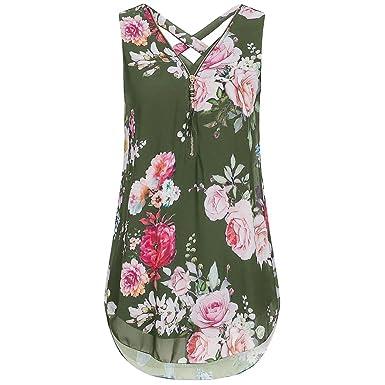 2b8de87dadf Chiffon Women Sleeveless Ladies Casual Summer Camisole Tank Tops Zipper  Floral Print Criss Cross Tunic Cami Vest Tops Blouse Jumper Sale Clearance  ...