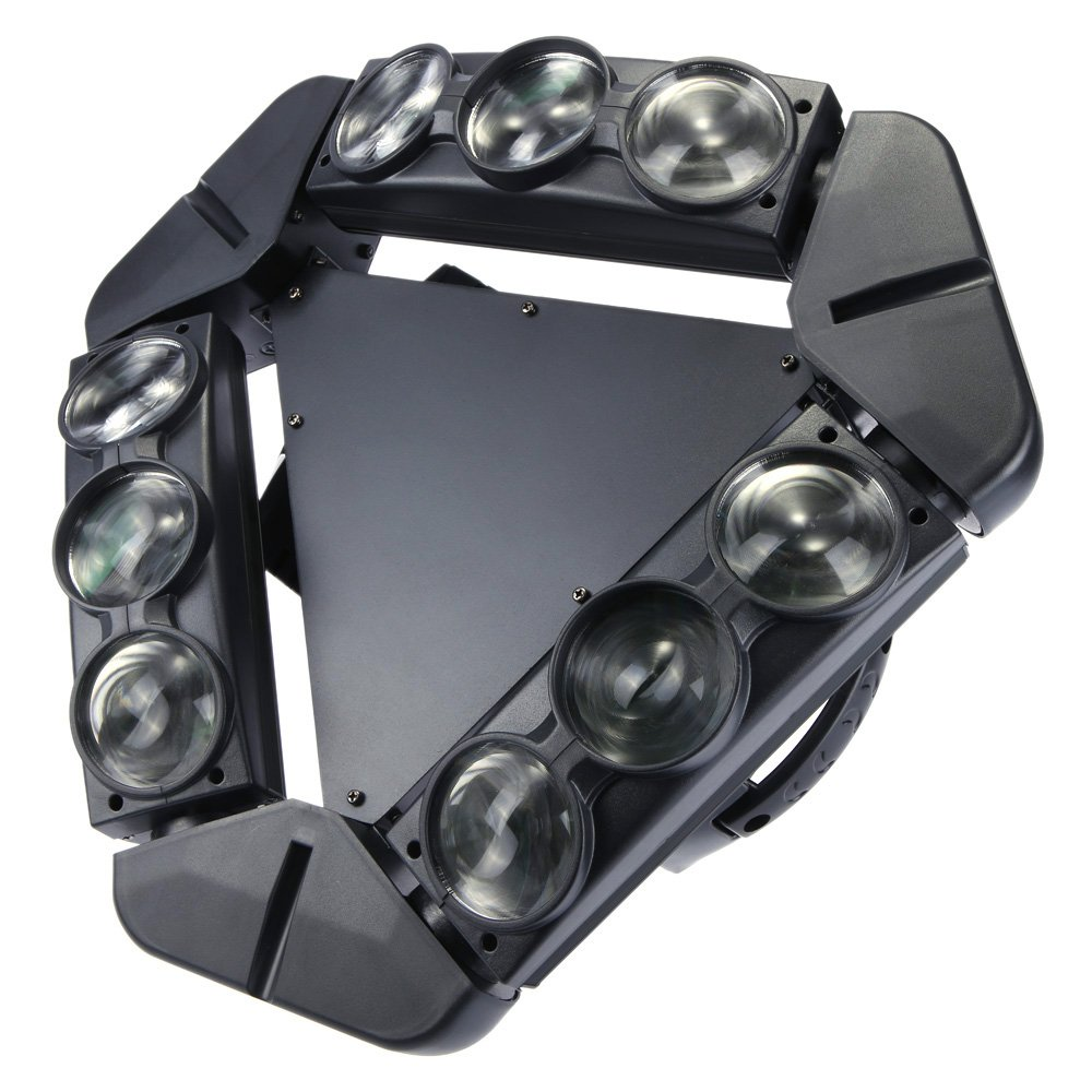 Lixada 140W Gobo Pattern LED Stage Lights Spider Moving Head Light DJ Effect DMX512 Sound Control Auto Rotating 1/12/14/18/50 Channels Full Color Changing Beam Triangle Lamp for Disco KTV Club Party