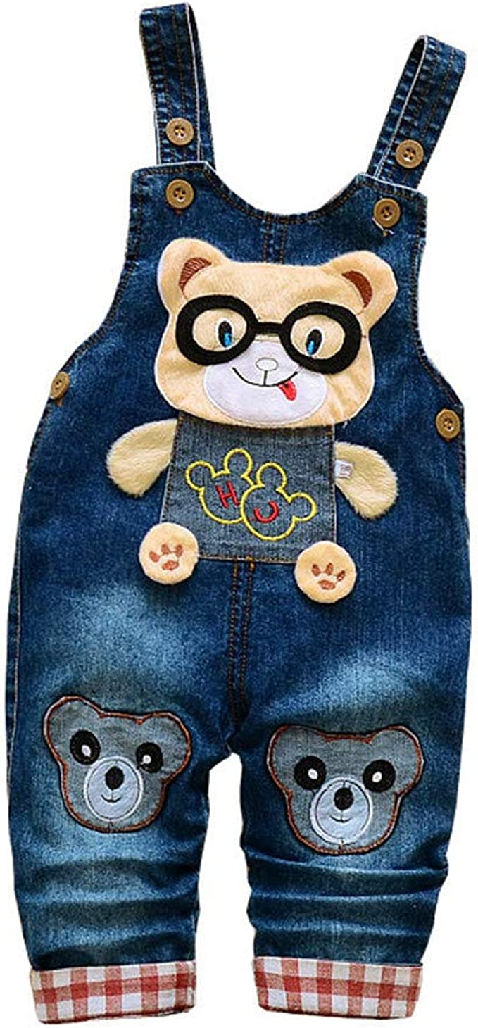 Toddler Baby Boys Overalls Jeans Cute Fall Suspender Trousers for Kids Cartoon Denim Jumpsuit Pants