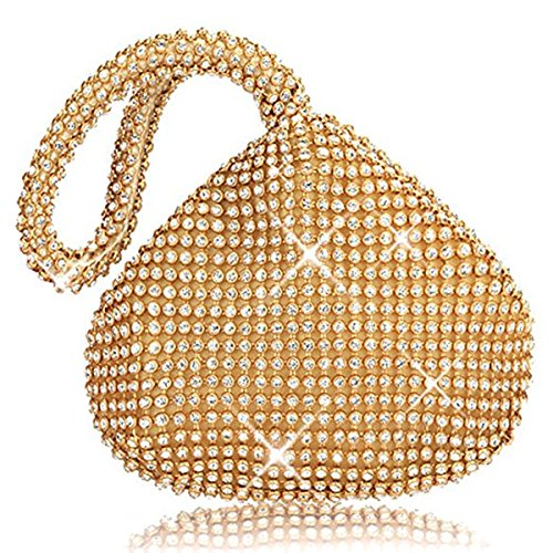 Mogor Women's Triangle Bling Glitter Purse Crown Box Clutch Evening Luxury Bags Party Prom Gold