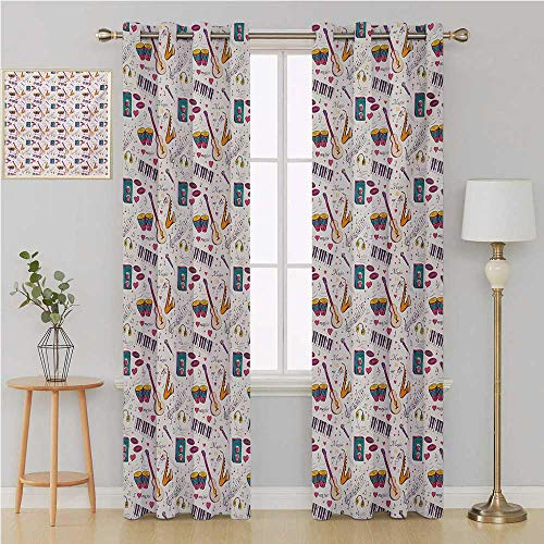 Benmo House Music Grommet Curtain Window Curtain DrapeInstruments Drums Speakers Keyboard Headphones Records Blues Music is My Life Themelight Curtain 108 by 96 InchMulticolor