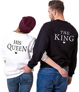 King Queen Pullover Pareja Sudadera Cuello Redondo Sin Capucha Hoodie Couple Impresión Letras para Mujer…