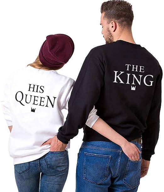 King Queen Pullover Pareja Sudadera Cuello Redondo Sin Capucha Hoodie Couple Impresión Letras para Mujer Hombre Suéter Casual: Amazon.es: Ropa y accesorios