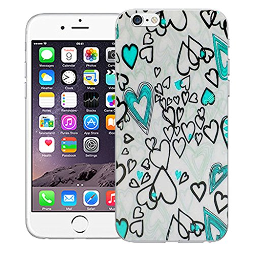 """Mobile Case Mate iPhone 6S 4.7"""" Silicone Coque couverture case cover Pare-chocs + STYLET - Blue Love pattern (SILICON)"""