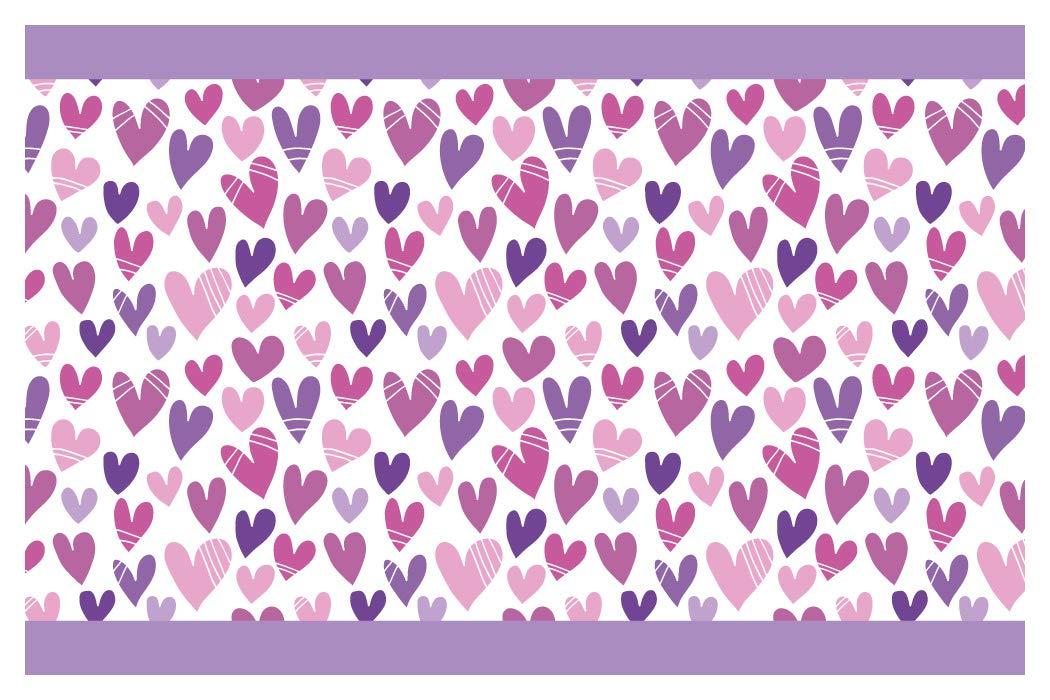 I-love-Wandtattoo b-10142 - Bordo decorativo adesivo da parete, cuore in viola, la camera dei bambini, 5m, stripes carta da parati, decorazioni per bambini