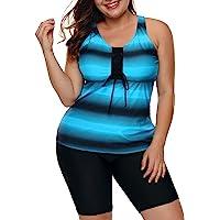 LALAGEN Women's Plus Size Rash Guard Capris Tankini Athletic Swimwear