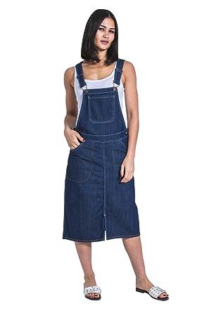 35e72663fef0 Amazon.com: USKEES Midi Denim Dungaree Dress - Darkwash Pinafore Bib Front  Split: Clothing