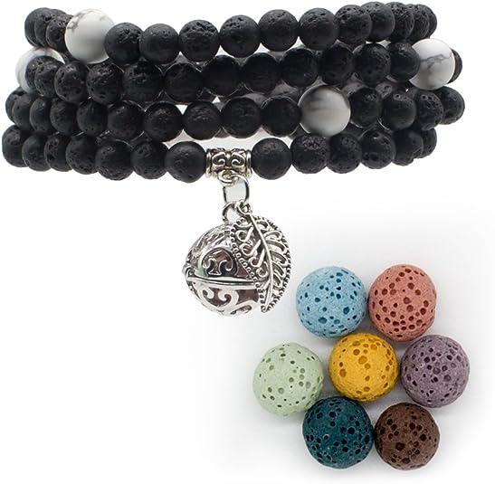 bivei Lava Stone Diffuserブレスレット–108Buddhist Mala祈りビーズロケットペンダントネックレス–瞑想、クリスタルHealing