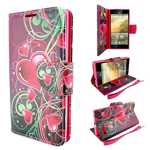 ZTE Warp Elite Case, Customerfirst Magnetic Folio Flip Book Wallet Pouch Case With Fold Up Kickstand and Detachable Wrist Strap For ZTE Warp Elite (Boost Mobile) (Cupid Hearts)