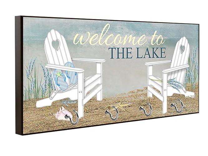Welcome To The Lake Key Holder, Key Hanger, Wall Key Rack, Wall Key