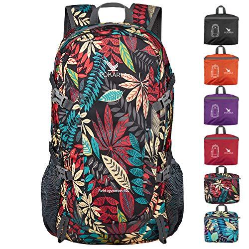 POKARLA 40L Hiking Backpack Lightweight Packable Travel Daypack for Women Men