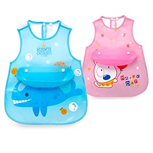 MIMIDOU 2 Pack Baby Bibs, a Plastic Food Catcher bib with Pocket, Baby snap Eating Smock, Toddlers Drool Bibs, Kids Art Smock, Painting Smock, All Over bib for Babies.