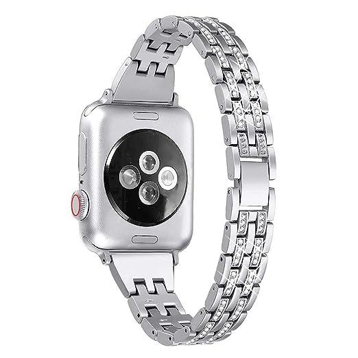 9532b138e68 Wristbands para Mujer Relojes Cinco de con Taladro Brazalete Cero  Inoxidable Repuesto de Elegante Strap Acero Bandas de Dos Filas Reloj Correa  Serie 4 40mm: ...