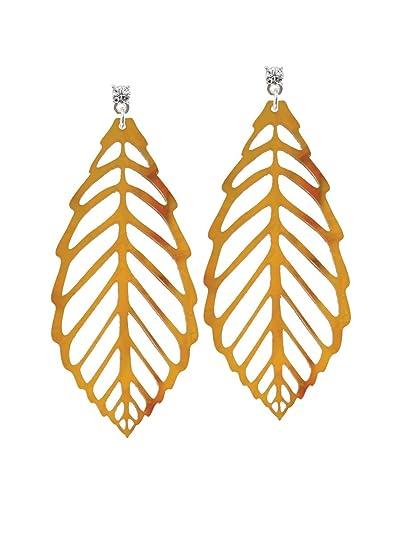 Hoja de acrílico extra grande naranja mezclado marrón y amarillo cristal Post pendientes: Amazon.es: Joyería