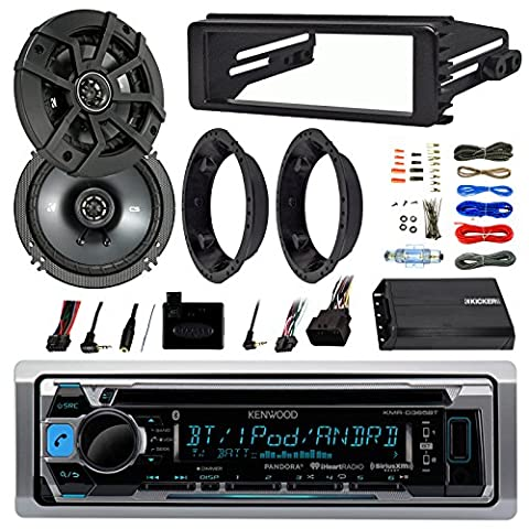 Kenwood KMRD365BT Stereo Bluetooth Receiver W/ Dash Kit Bundle Combo With 2x Kicker 6.5