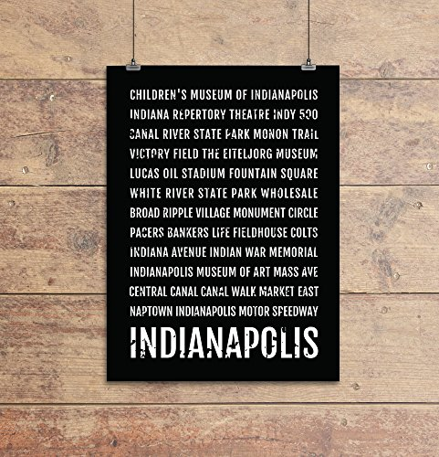 Indianapolis Print - Neighborhoods - Subway Sign Poster, Wall Art, Décor, Canvas, Word Map, Gift, Bus Scroll, Typography, Minimal, Custom, Personalized