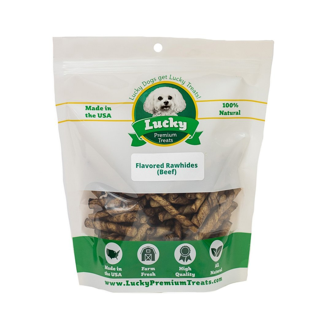 Beef Flavored Rawhide Dog Treats for Toy Size Dogs Made in the USA Only by Lucky Premium Treats, 725 Chews