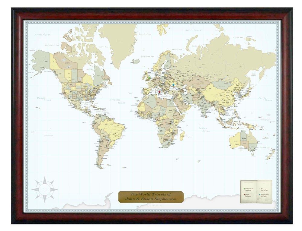 Personalized Push Pin Classic World Travel Map with Custom Brushed Gold Plaque