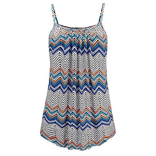 TnaIolral Women Summer Vest Printed Sleeveless Blouse Tank Camis Tops Blue