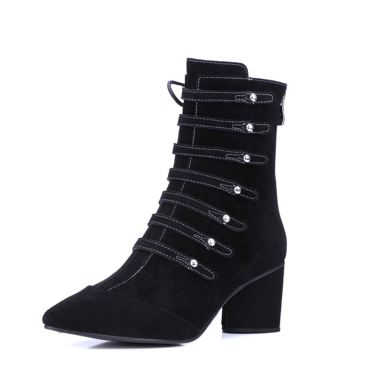 DYF Frauen Nackt Schuhe Schuhe Schuhe Kurze Stiefel Niedrigem Absatz Hingewiesen Klettverschluss Licht, Schwarz Scrub 0,35 4c0ff6