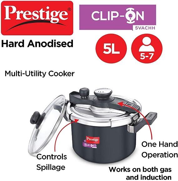 Prestige Svachh Clip-on 5 Litre Hard Anodised Pressure Handi