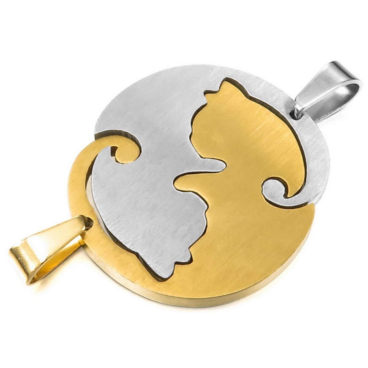 MunkiMix 2PCS Edelstahl Halskette Anh/änger Katze Puzzle Lieben Valentine Paar Paare Set Herren,Damen mit 50cm 58cm Kette
