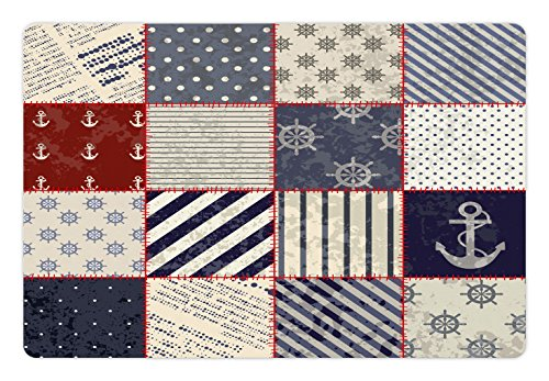 Lunarable Nautical Pet Mat for Food and Water, Maritime and Nautical Life Design with Vintage Sailor Knots and Anchor Motifs, Rectangle Non-Slip Rubber Mat for Dogs and Cats, Beige Blue