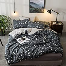 HIGHBUY Reversible Queen Duvet Cover Cotton Bedding Sets Dark Grey Floral Branches Printing Bedding Collection with Zipper Closure Chevron Stripe Pattern Comforter Cover 3 Piece Duvet Cover Set Full