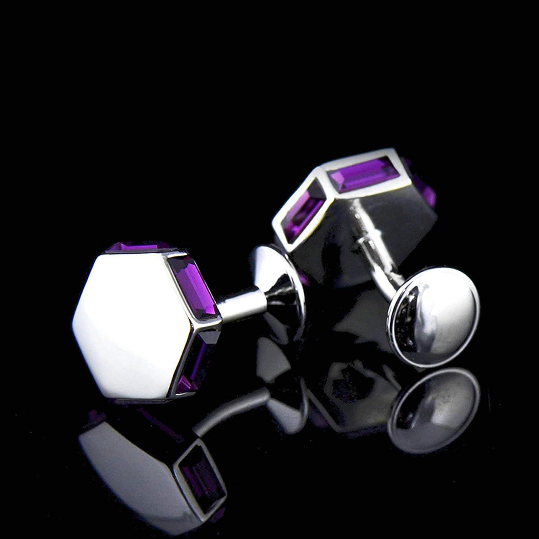 Bishilin Business Classic Cufflinks for Men Hexagon Silver Cubic-Zirconia Cuff Links Set Wedding for Him