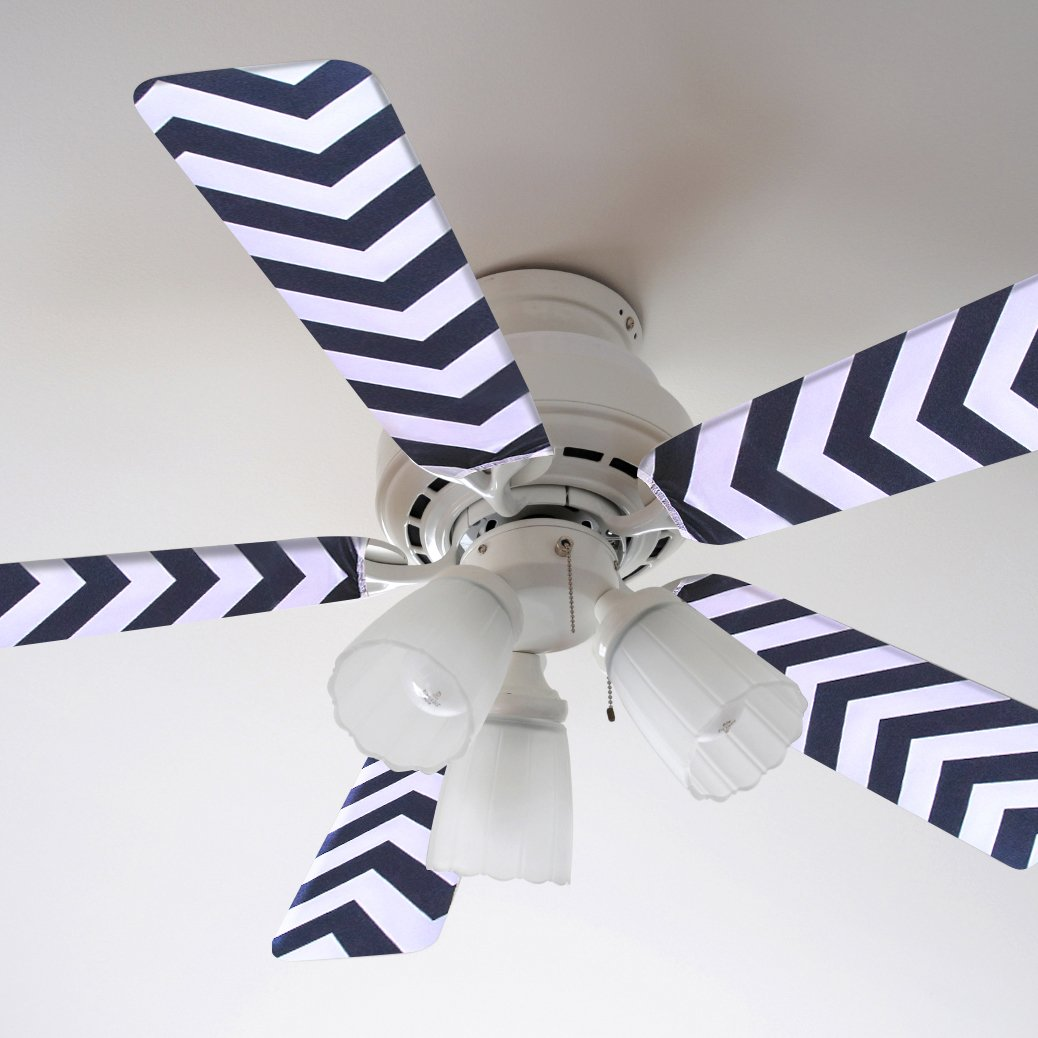 Fancy Blade Ceiling Fan Accessories Blade Cover Decoration, Black Chevron