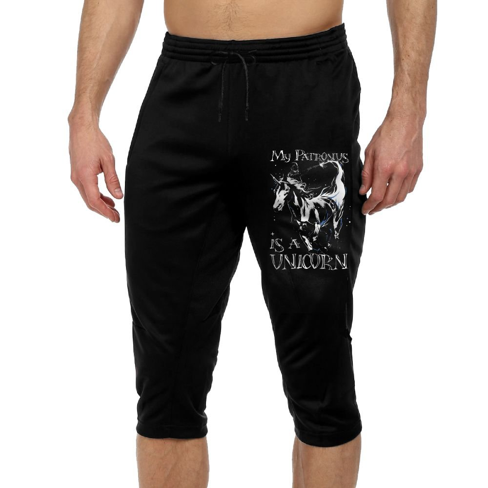 Men's Novelty Performance My Patronus Is A Unicorn Print Crop Sweatpant Capri Pants Drawstring Knee Pant Black X-Large