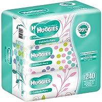 Huggies Cuidado Puro, Toallitas Húmedas para Bebé, 3 paquetes con 80 toallitas cada una.
