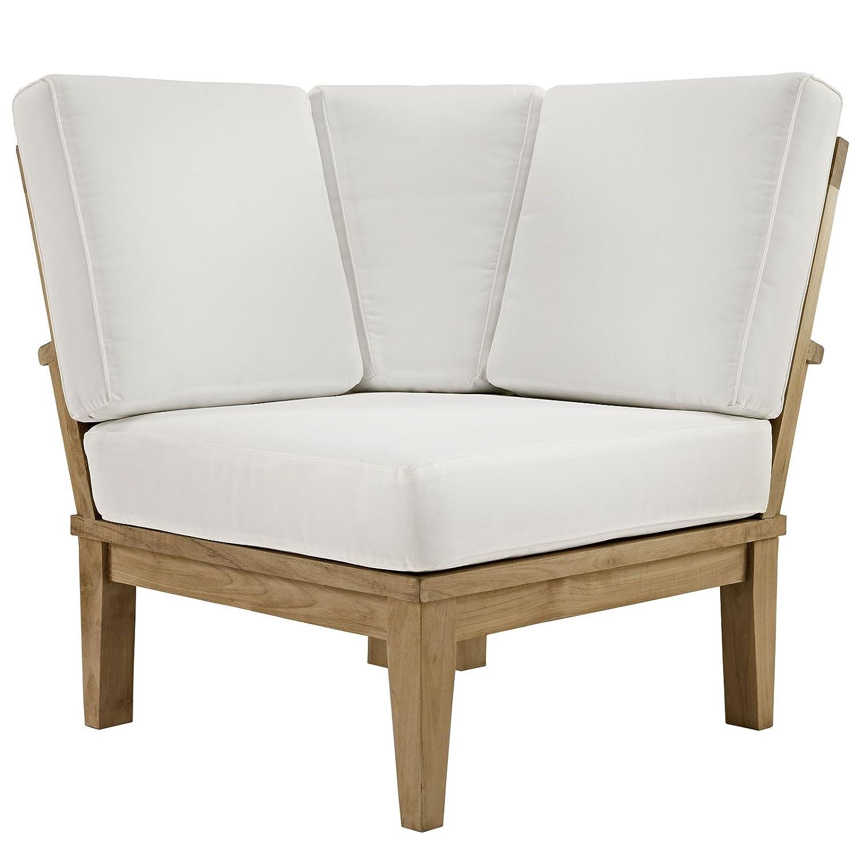Amazon.com : Marina Outdoor Patio Teak Corner Sofa in Natural White ...