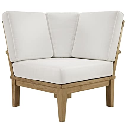 Modway Eei 1146 Nat Whi Set Marina Premium Grade A Teak Wood Outdoor Patio Sectional Sofa Corner Chair Natural White