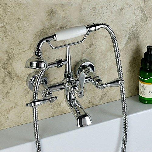 YSRBath Moderne Badzimmer Waschbecken Waschtischarmatur Antike Verchromt in die Wand Messing Showerbathtub Kalte und Warme Handheld Mischbatterie Bad Küchenspüle Armaturen Wasserhahn