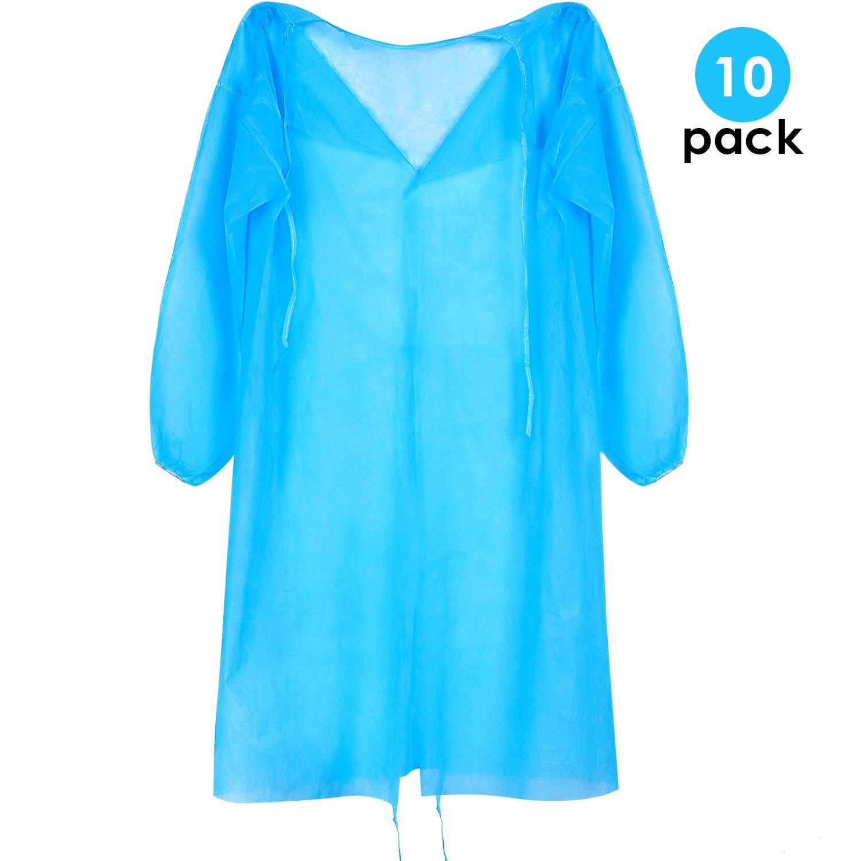 10 Pack Bata de Aislamiento Universal Desechable con Pulsera Elástica, sin Látex, Tamaño Medio Regular, Azul: Amazon.es: Industria, empresas y ciencia