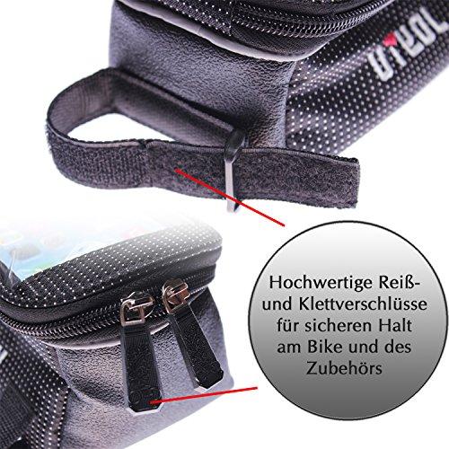 """wortek Fahrrad Rahmentasche Handyhalterung (17cm x 9,5cm x 9,5cm) bis ca. 5,2"""" Displays"""