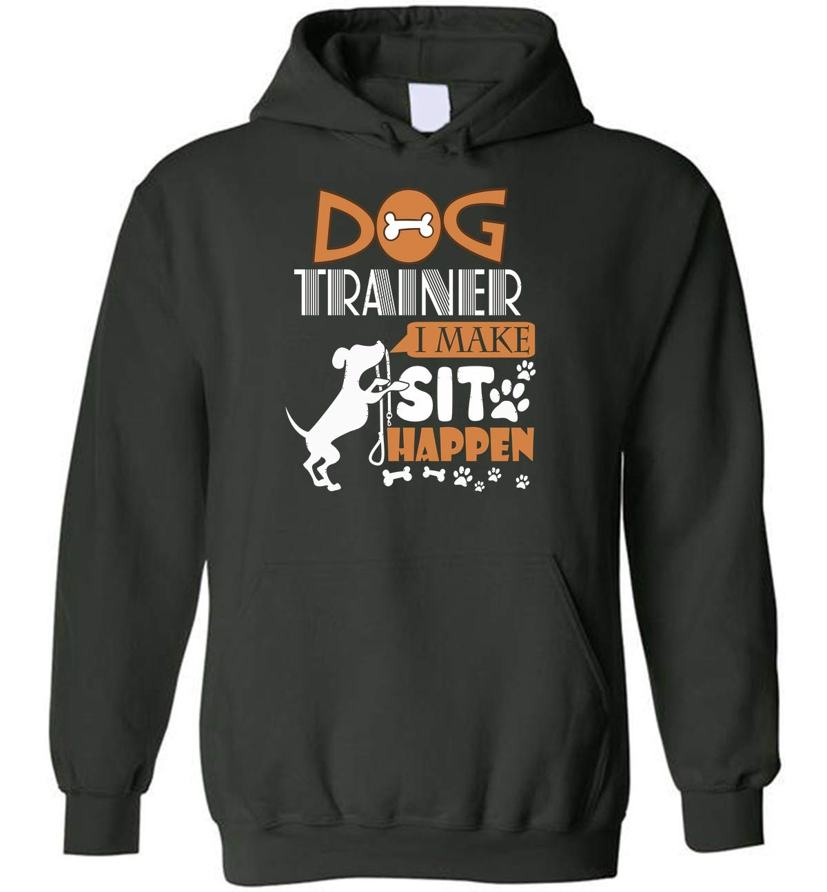 Funny Dog Trainer Blend Hoodie Dog Commands Obedience Training (Forest - S)