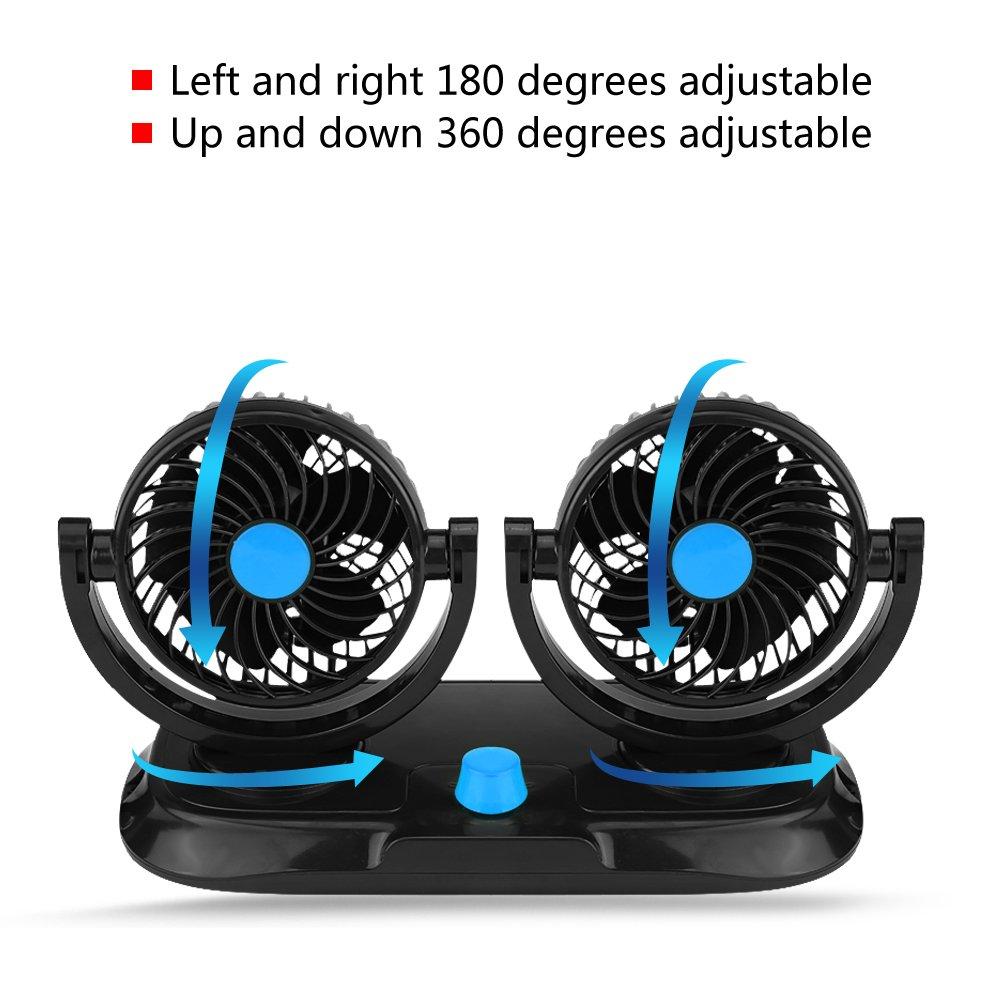 Kimiss elettrico ventola auto 12 V auto doppia testa mini raffreddamento ventola silenziosa a 360 gradi e 180 gradi ruotabile ventole cruscotto circolazione dell aria W//spina accendisigari veicolo