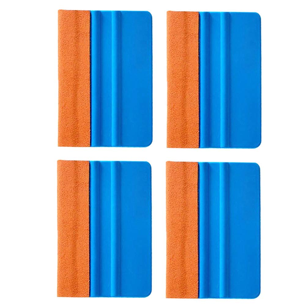 EEFUN Durable Suede Felt Edge Squeegee 4 Inch Car Vinyl Film Wrapping Squeegee Window Tint Working Tool, Professional Scratch Free Squeegee,Pack of 4