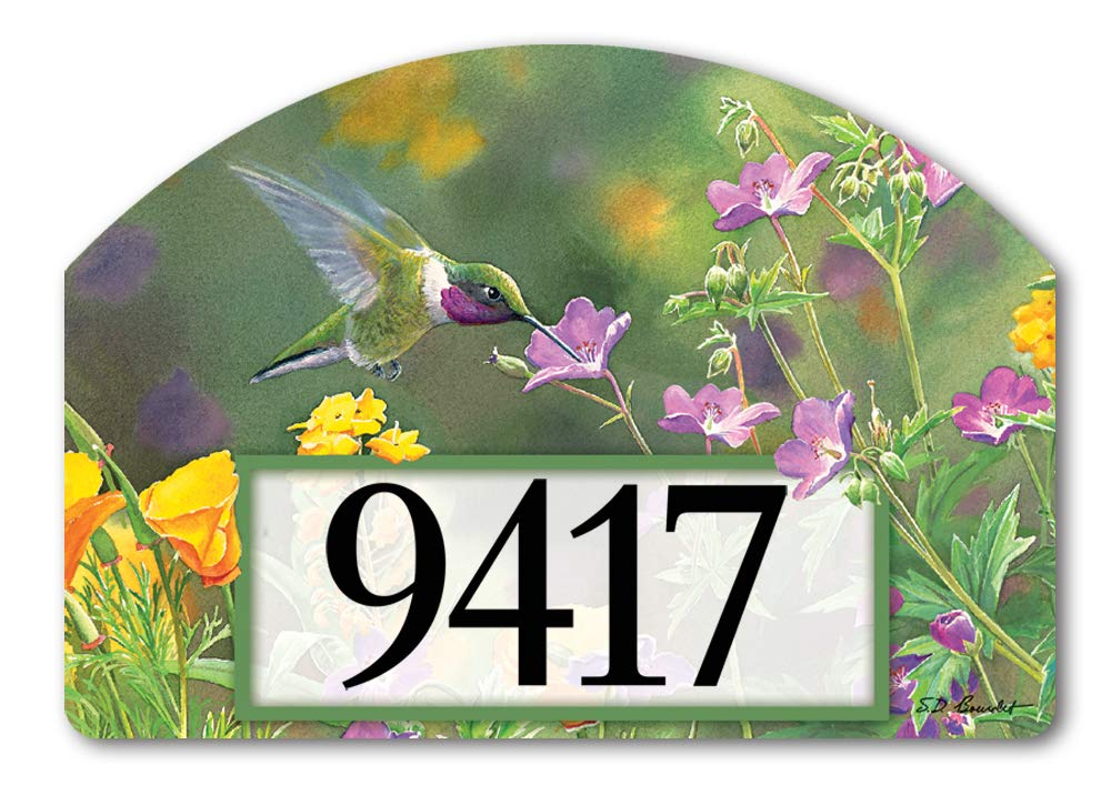 Yard DeSigns Studio M Hummingbird Hover Spring Summer Decorative Address Marker Yard Sign Magnet, Made in USA, Superior Weather Durability, 14 x 10 Inches
