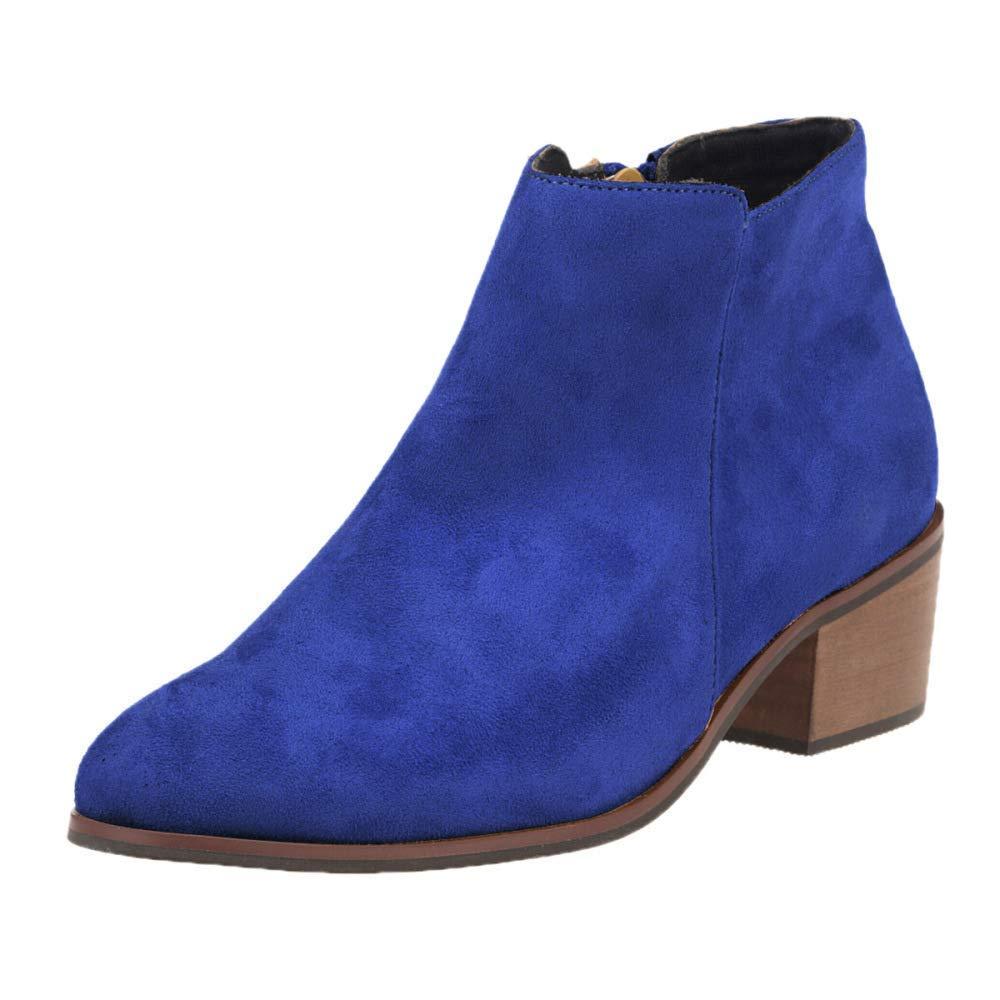 ZHRUI ZHRUI ZHRUI Damen Leder High-Heels Stiefeletten Retro Casual Stiefel (Farbe   12 Größe   35EU) 69487f