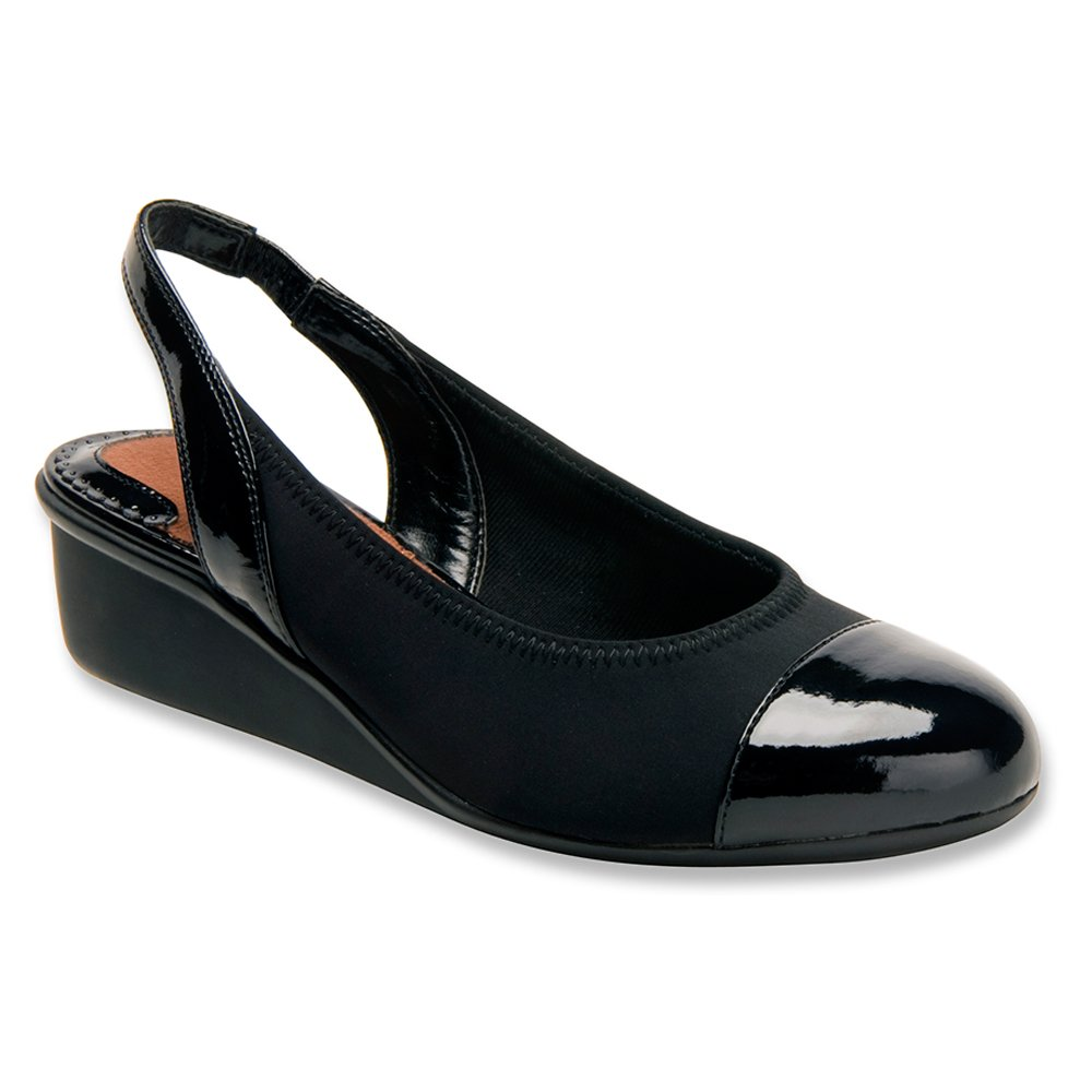 Ros Hommerson Women's Emma Wedge Sandals B00IRVCGLA 7 2A(N) US|Black Stretch, Black Patent