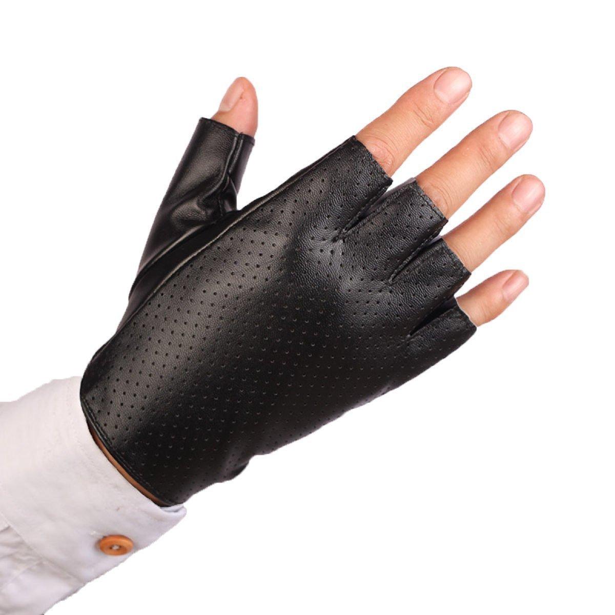 GBT Guantes de cuero medio dedo masculino presentando medios para el último paseo en moto,Negro2,Un tamaño