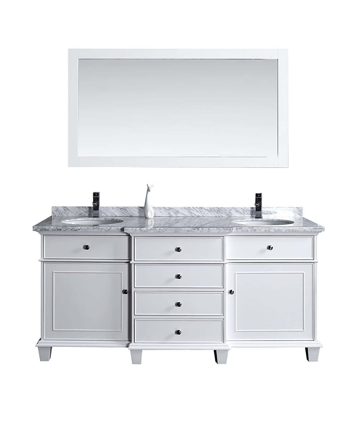 Stufurhome Hd 7000w 72 Cr Cadence Double Sink Bathroom Vanity With Mirror 72 White