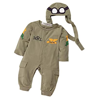 StylesILove Newborn Infant Toddler Baby Boy Army Air Force Baby Jumpsuit Romper and Hat 2-pc Costume Set: Clothing