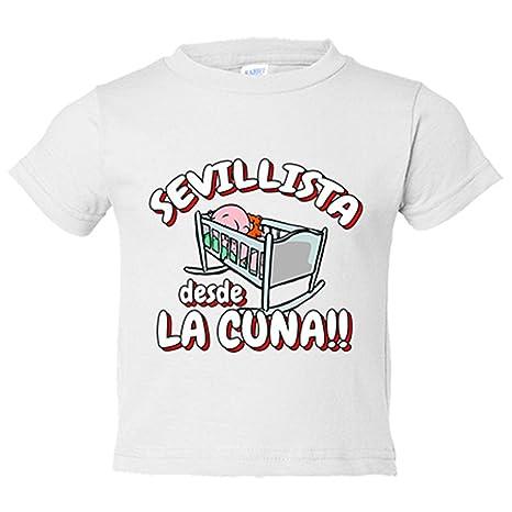 Camiseta niño Sevillista desde la cuna Sevilla fútbol - Blanco, 3-4 años